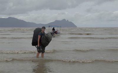 wet landing in Borneo